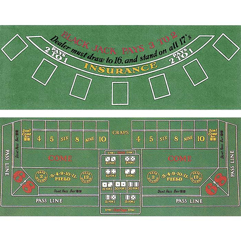 Trademark Commerce 10-30103020 Blackjack And Craps 2 Sided Layout 36 X 72 Inch - Peazz.com