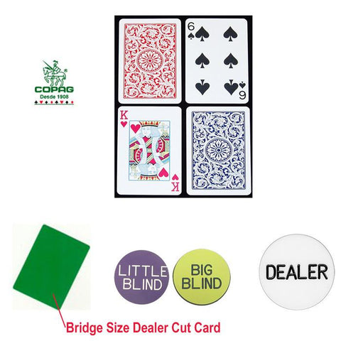 Trademark Commerce 10-B6734R-Kit Copag Bridge Size Plastic Playing Cards & Dealer Kit - Peazz.com