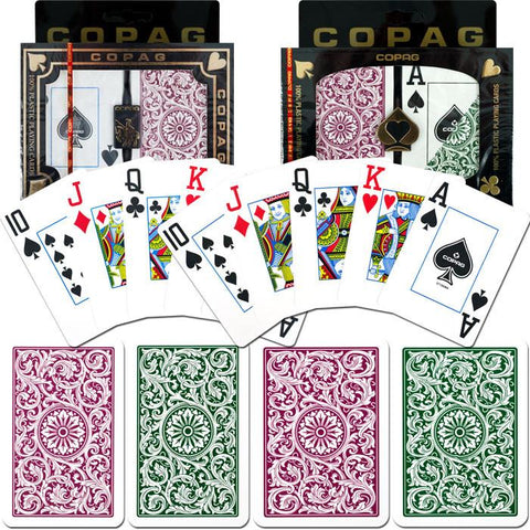 Trademark Commerce 10-BP3420-2 Copag Poker & Bridge Jumbo Index - Green/Burgundy Set Of 2 - Peazz.com