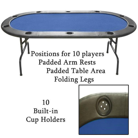 Trademark Commerce 10-HT1BL Full Size Texas Holdem Blue Felt Poker Table - Peazz.com
