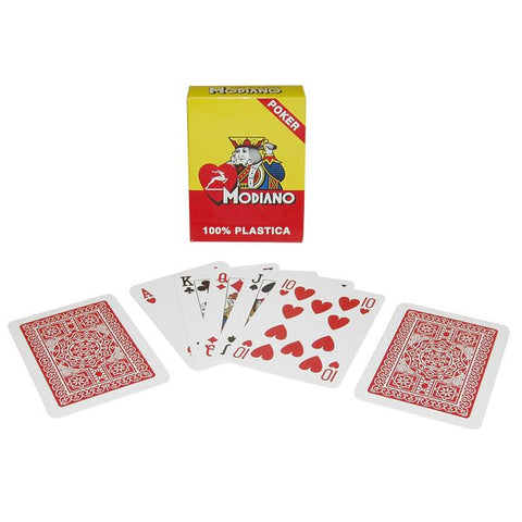 Trademark Poker 10-P0473Mo Modiano 100% Plastic Poker Size Reg Index Red Single Deck - Peazz.com