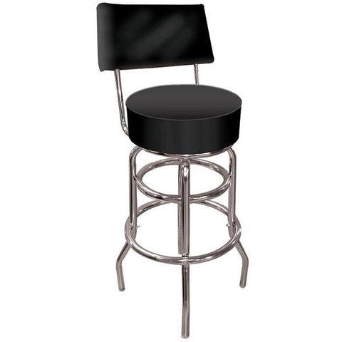 High Grade Black Padded Bar Stool with Back - Peazz.com