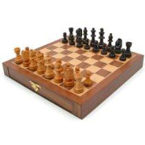 12-21129 Inlaid Walnut Style Magnetized Wood W/Staunton Wood Chessmen - Peazz.com