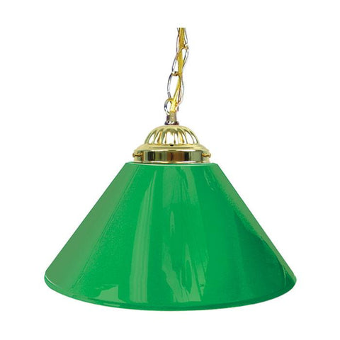 Trademark Commerce 1200G-GRN Plain Green 14 Inch Single Shade Bar Lamp - Brass hardware - Peazz.com
