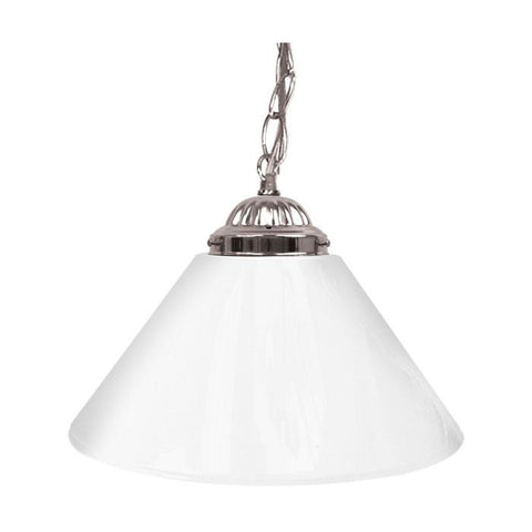 Trademark Commerce 1200S-WHI Plain White 14 Inch Single Shade Bar Lamp - Silver hardware - Peazz.com