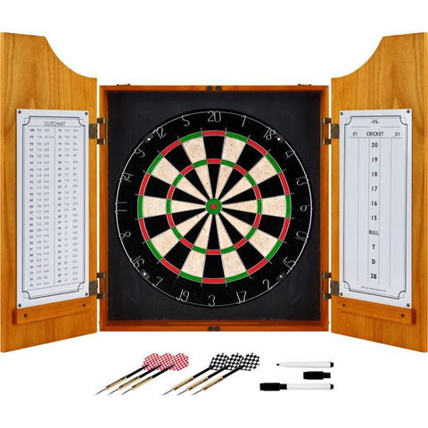 Trademark Games 15-9000Plain Tgt Solid Wood Dart Cabinet Set - Pro Style Board And Darts - Peazz.com