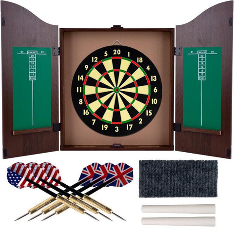 Trademark Commerce 15-DG910 TGT Dartboard Cabinet Set - Realistic Walnut Finish - Peazz.com