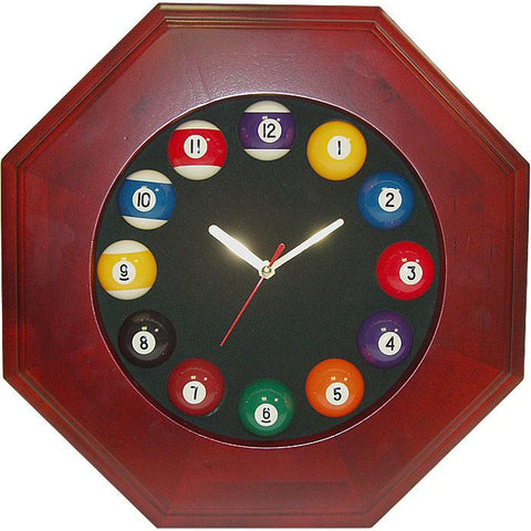 Trademark Commerce 40-72658 Octagonal Wood Billiards Quartz Clock - Peazz.com