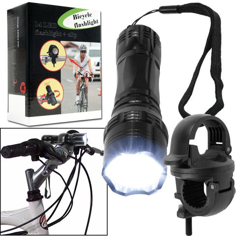 Trademark Commerce 72-14390 Super Bright 14 LED Flashlight w/ Bicycle Clip - Peazz.com