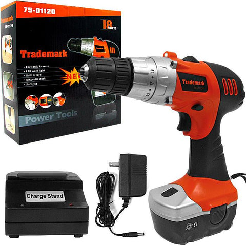 Trademark Commerce 75-01120 Trademark Tools 18V Cordless Drill w/ LED Light and extras - Peazz.com