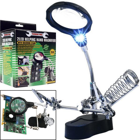 Trademark Tools Helping Hand Magnifier with 2 LEDs - Peazz.com