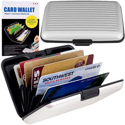 82-6129 Aluminum Credit Card Wallet - Rfid Blocking Case - Silver - Peazz.com