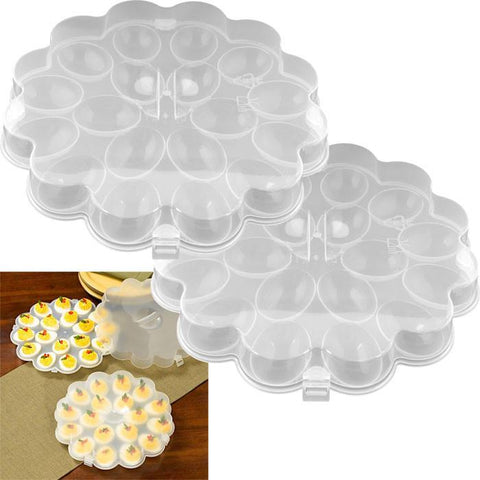 Trademark Commerce 82-Y3458 Set of 2 Deviled Egg Trays w/ Snap On Lids - Holds 36 Eggs - Peazz.com