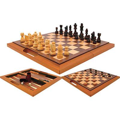 Trademark Games 94204 Deluxe Wooden 3-In-1 Chess, Backgammon & Checker Set - Peazz.com