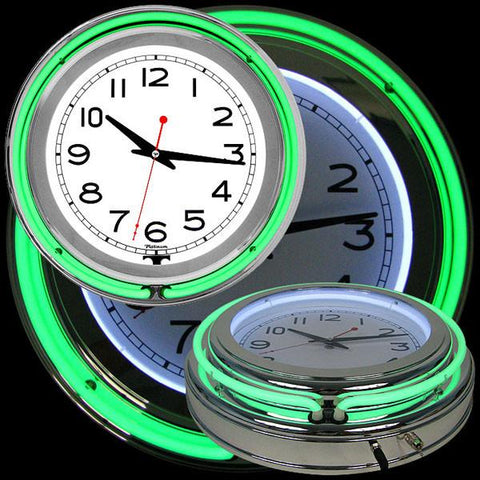 14 Inch Double Ring Neon Clock Green Outer White Inner - Peazz.com
