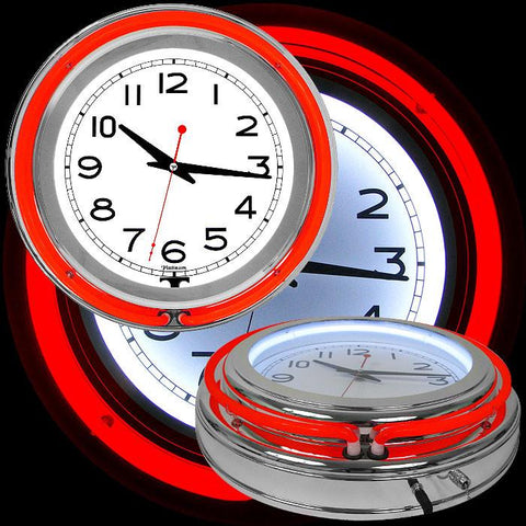 Trademark Commerce 99-1099RD 14 Inch Double Ring Neon Clock Red Outer & White Inner Ring - Peazz.com