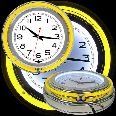 14 Inch Double Ring Neon Clock Yellow Outer White Inner - Peazz.com