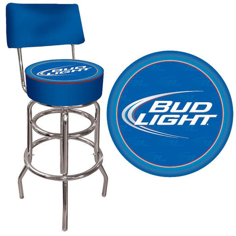 Trademark Commerce AB1100-BL Bud Light Blue Padded Bar Stool with Back - Peazz.com