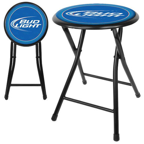 Trademark Commerce AB1800-BL Bud Light 18 Inch Cushioned Folding Stool - Black - Peazz.com