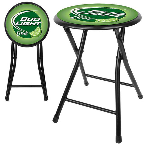 Trademark Commerce AB1800-BLLIME Bud Light Lime 18 Inch Cushioned Folding Stool - Black - Peazz.com