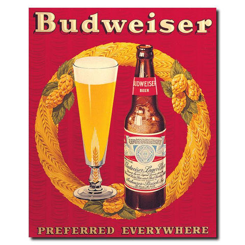Trademark Commerce AB195-C1822GG Budweiser Vintage Ad Bottle & Glass Red Canvas 18x22 Inch - Peazz.com