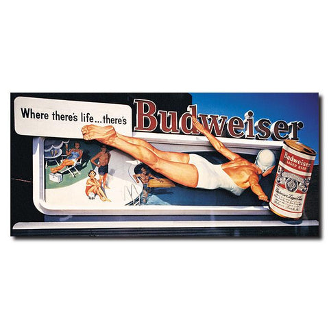 Trademark Commerce AB211-C1430 Budweiser Vintage Ad - Pool - Canvas 14 x 30 Inch - Peazz.com