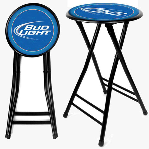 Trademark Commerce AB2400-BL Bud Light 24 Inch Cushioned Folding Stool - Black - Peazz.com