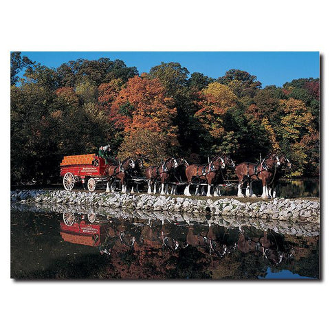 Trademark Commerce AB266-C1419GG Clydesdales in Fall by Stone Pond- 14 x 19 Canvas - Peazz.com
