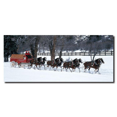 Trademark Commerce AB280-C2047GG Clydesdales in Snow Covered Field w/ fence- 20x47 Canvas - Peazz.com