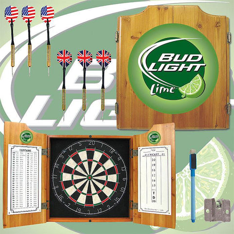 Trademark Commerce AB7000-BLLIME Bud Light Lime Dart Cabinet Includes Darts and Board - Peazz.com