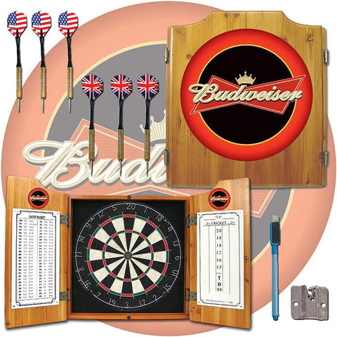 Trademark Commerce AB7000-BUD Budweiser Dart Cabinet Includes Darts and Board - Peazz.com
