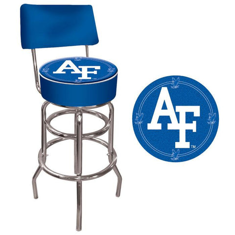 Trademark Commerce CLC1100-AF Air Force Padded Bar Stool with Back - Peazz.com