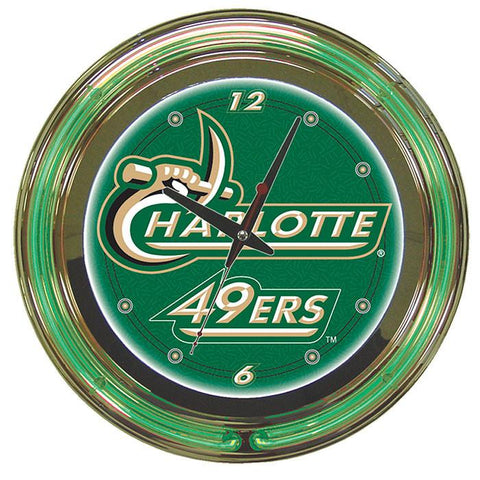 Trademark Commerce CLC1400-UNCC University of North Carolina Charlotte Neon Clock - 14 inchs - Peazz.com