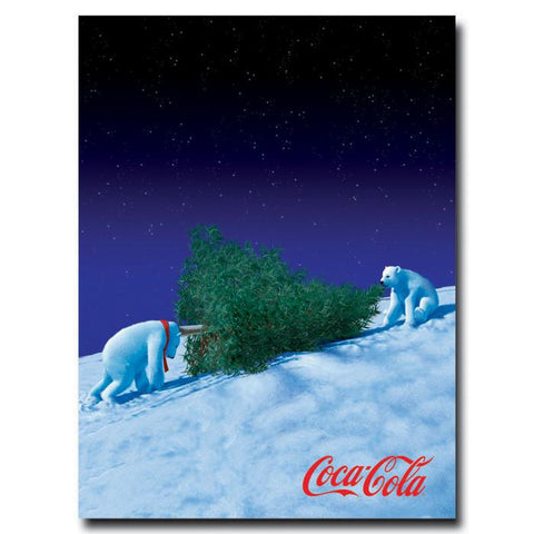 Trademark Commerce cokePB2-c1824gg Coke Polar Bears with Christmas Tree  - 18 x 24 Inches - Peazz.com