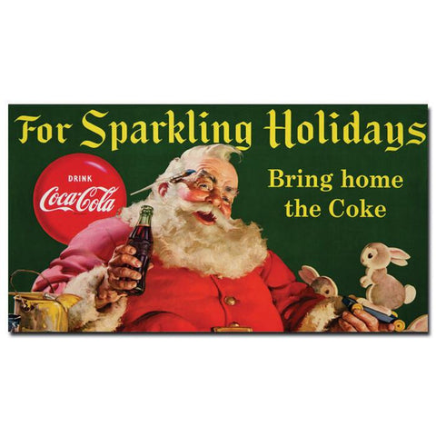 Trademark Commerce cokeSanta4-c13x24gg Coke Santa w/ Rabbit For Sparkeling Holidays -13 x 24 Inches - Peazz.com