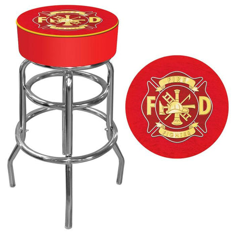 Trademark Commerce FF1000 Fire Fighter Logo Padded Bar Stool - Peazz.com