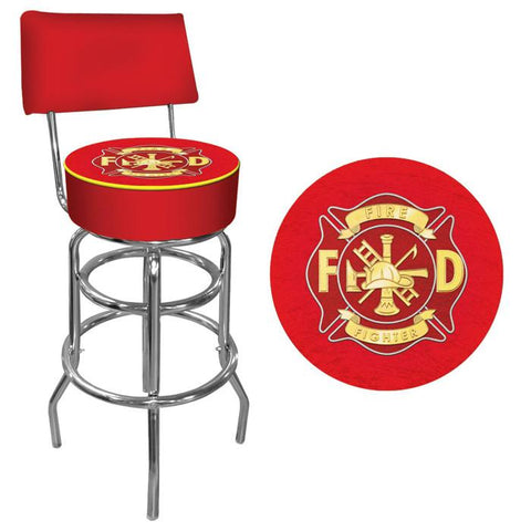 Trademark Commerce FF1100 Fire Fighter Padded Bar Stool with Back - Peazz.com