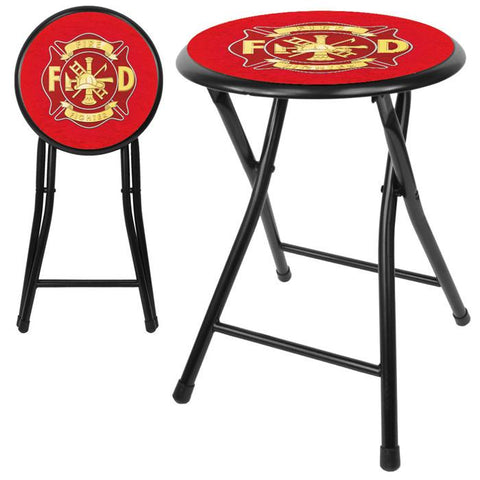 Trademark Commerce FF1800 Fire Fighter 18 Inch Cushioned Folding Stool - Black - Peazz.com