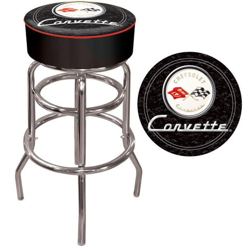 Trademark Commerce GM1000B-C1-COR Corvette C1 Padded Bar Stool - Black - Peazz.com