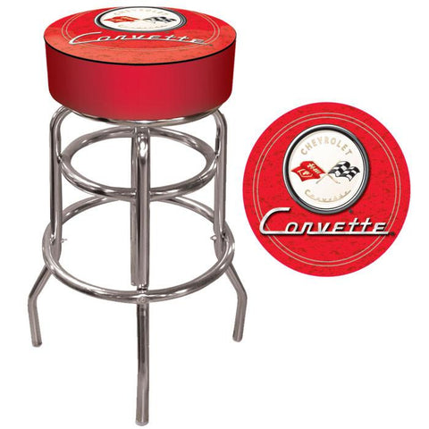 Trademark Commerce GM1000R-C1-COR Corvette C1 Padded Bar Stool - Red - Peazz.com