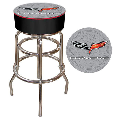 Trademark Commerce GM1000S-C6-COR Corvette C6 Padded Bar Stool - Silver - Peazz.com
