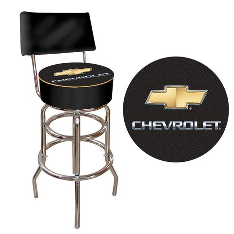 Trademark Commerce GM1100CH Chevrolet Padded Bar Stool with Back - Black/Silver - Peazz.com
