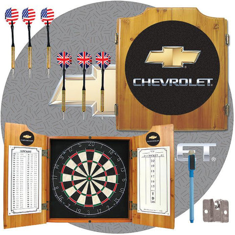 Trademark Commerce GM7000CH Chevrolet Dart Cabinet Includes Darts and Board - Peazz.com