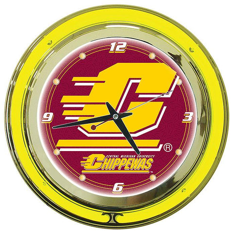Trademark Commerce LRG1400-CM Central Michigan University Neon Clock - 14 Inch Diameter - Peazz.com