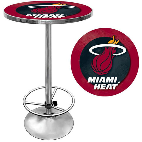 Trademark Commerce NBA2000-MH Miami Heat NBA Chrome Pub Table - Peazz.com