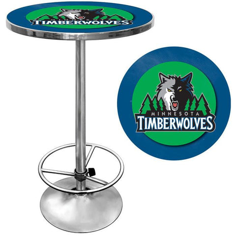 Trademark Commerce NBA2000-MT Minnesota Timberwolves NBA Chrome Pub Table - Peazz.com