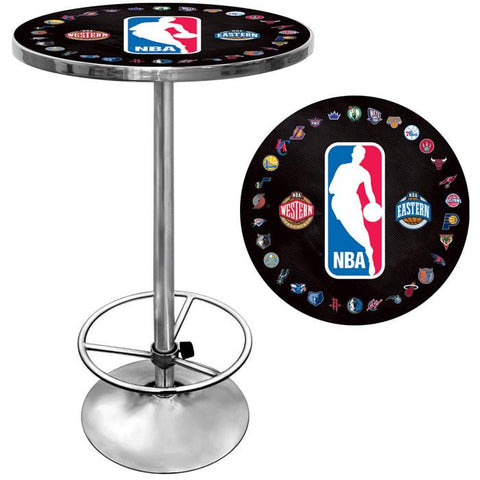Trademark Commerce NBA2000-NBA NBA Logo with All Teams Chrome Pub Table - Peazz.com