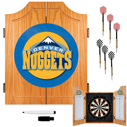 Trademark Commerce NBA7000-DN Denver Nuggets NBA Wood Dart Cabinet Set - Peazz.com