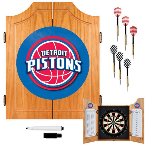 Trademark Commerce NBA7000-DP Detroit Pistons NBA Wood Dart Cabinet Set - Peazz.com