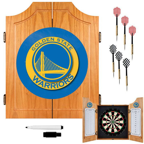 Trademark Commerce NBA7000-GSW Golden State Warriors NBA Wood Dart Cabinet Set - Peazz.com